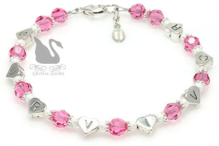 Breast Cancer Awareness Survivor Heart Bracelet (B173-BC)