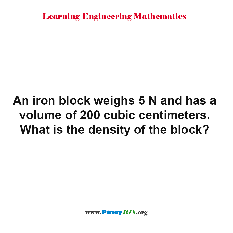 What is the density of the block?