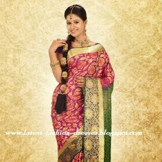WEDDING PINK WITH GREEN SILK SAREE