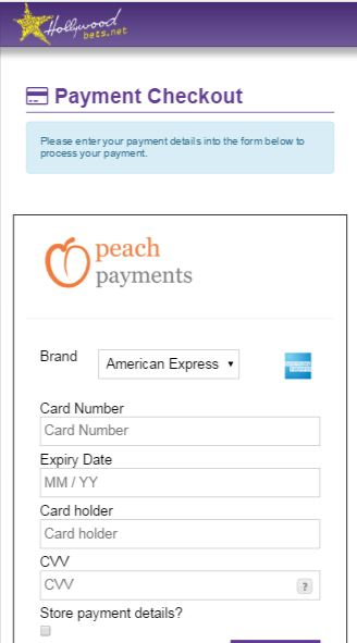 Fill in Credit Card Details - Peach Payments - Hollywoodbets - Deposit Method