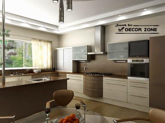 kitchen false ceiling designs with slight lighting system