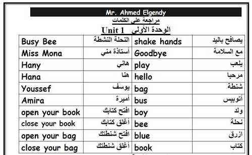 مذكرة كلمات منهج اللغة الإنجليزية الجديد Connect  أولى ابتدائي ترم أول 2019 – موقع مدرستي