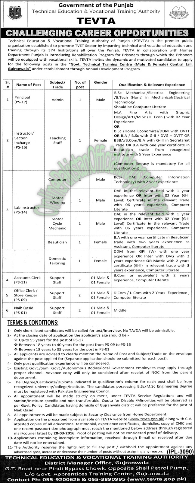 Jobs In Technical Education Vocational Training Authority (TEVTA) jobs