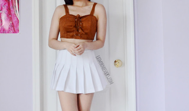 Brown faux suede lace-up bustier bralette crop top from Dresslink.