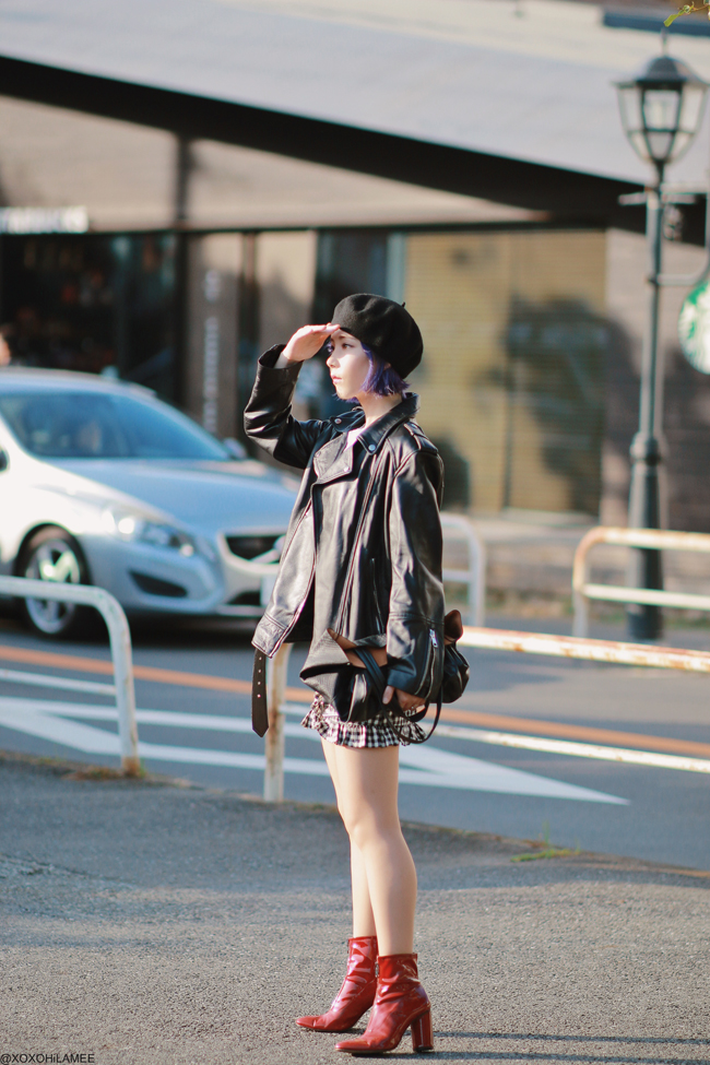 Japanese Fashion Blogger,MizuhoK,20191102OOTD, ZARA=biker jacket, red enamel boots, SheIn=tee, CHICWISH= shorts,