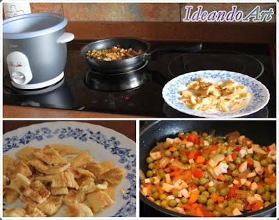 Preparación arroz con delicias