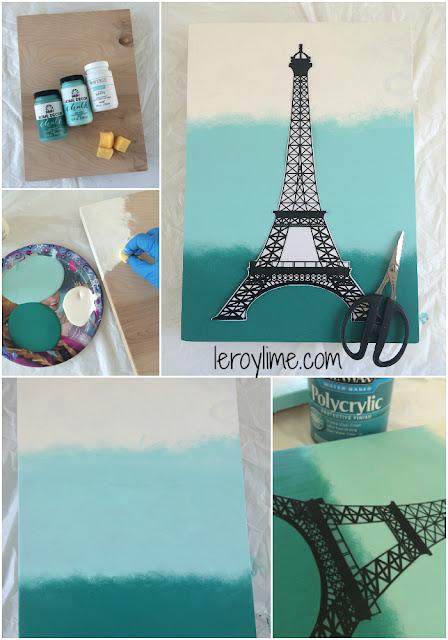 Leroylime Diy Eiffel Tower Ombre Wall Art
