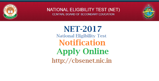 NET-National Eligibility Test 2017 Notification Exam Schedule Apply Online @cbsenet.nic.in  Online Application Form for NET 2017 all over the India | Apply Online for National Eligibility Test 2017 Notification Online Application Form Fee dates Examination Shcedule Hall Tickets Results | On behalf of UGC, the Central Board of Secondary Education announces holding of the National Eligibility Test (NET) on 22nd January 2017 for determining the eligibility of Indian nationals for the Eligibility for Assistant Professor only or Junior Research Fellowship & Eligibility for Assistant Professor Both in Indian Universities and Colleges. CBSE will conduct NET in 84 subjects at 90 selected NET Examination Cities spread across the country. net-national-eligibility-test-notification-apply-online-fee-exam-dates-hall-tickets-results-download-cbsenet