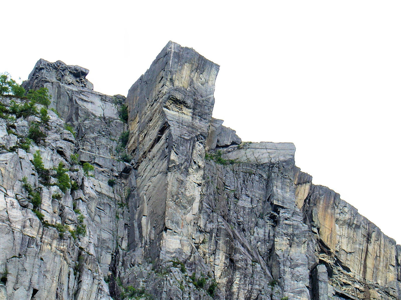 That squared rocky outcrop is Pulpit Rock, towering 2,000 feet above the Lysefjord.