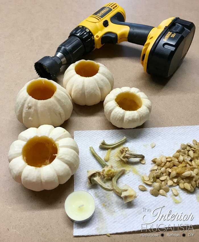 Mini Pumpkin Tealights For Thanksgiving Wood Trivet
