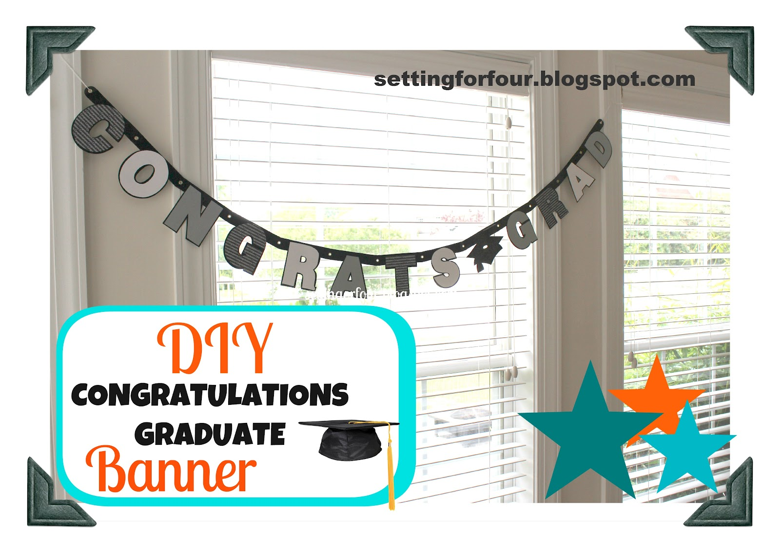 diy congratulations graduate banner setting for four