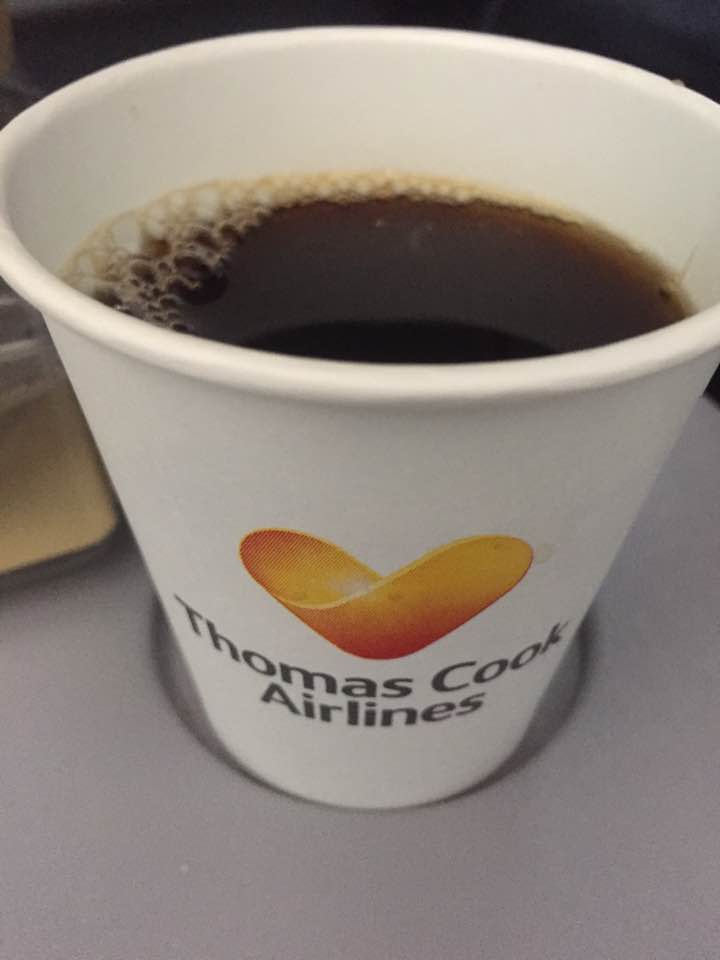 A Thomas Cook Long Haul Flight from Manchester | In-flight Meals, Entertainment & What to Expect - A Review - Thomas Cook coffee