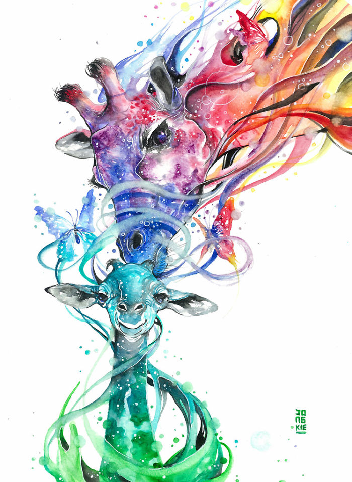 16-Ma-Boy-Luqman Reza jongkie-Painting-Fantasy-worlds-with-Flowing-Watercolor-Animals-www-designstack-co