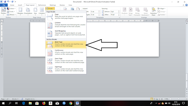 Membuat Page Layout Potrait dan Landscape Menjadi Satu Dalam Sebuah Lembar Kerja di Microsoft Word, membuat dokumen tegak dan miring dalam satu lembar kerja di microsoft word, cara membuat potrait dan landscape bersamaan pada microsoft word