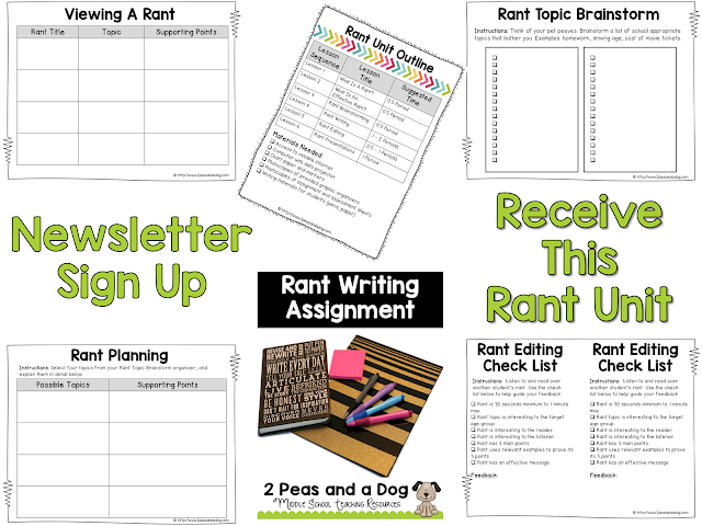 This highly engaging unit will make your students want to write. Sign up for our mailing list to get our Rant Writing Unit for free.