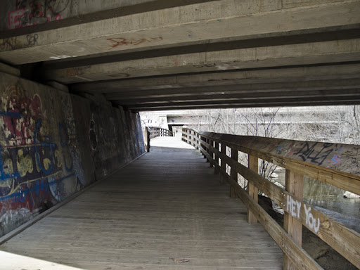 Pequonnock Valley Greenway Rail Trail traveling under Highway 25