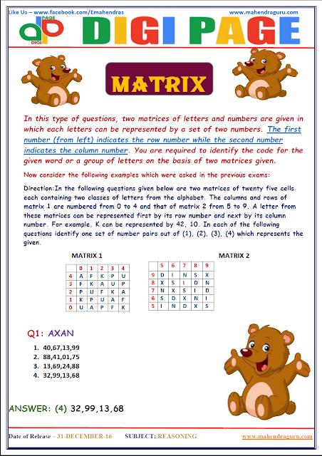 DP | MATRIX | 30 - DEC - 16