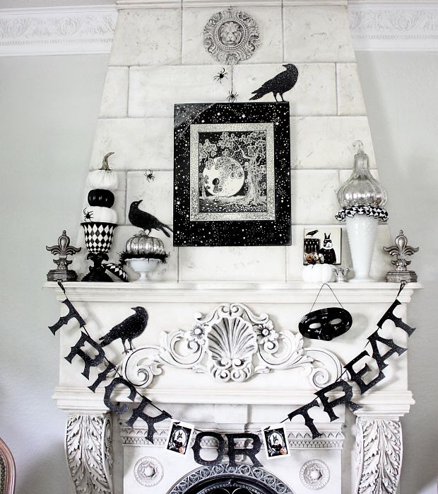 The Decorated House - Black and White Halloween Mantel