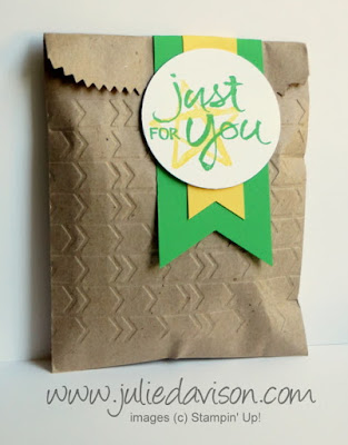 Stampin' Up! Watercolor Words Gift Bag #stampinup gift-giving www.juliedavison.com