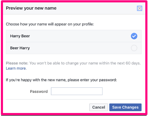 how to Change Name on Facebook 2017