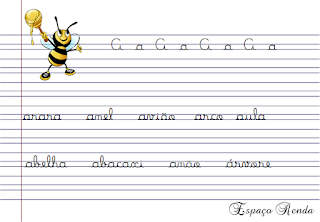 caderno de caligrafia letra A