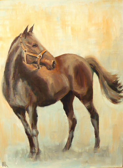 oil painting of horse, standing