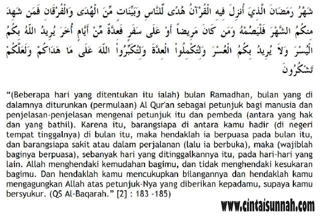 Belajar Memahami Hukum, Hikmah, dan Manfaat Berpuasa. Perintah Berpuasa di Bulan Ramadhan (QS. Al-Baqarah : 185)