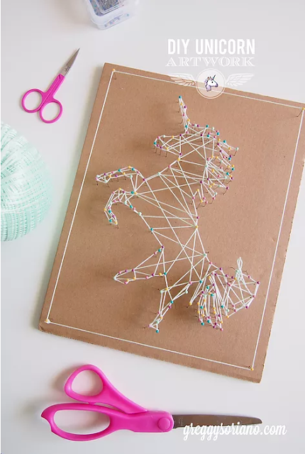 How to make DIY unicorn string art craft and room decor