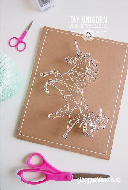 How to make DIY unicorn string art craft and room decor