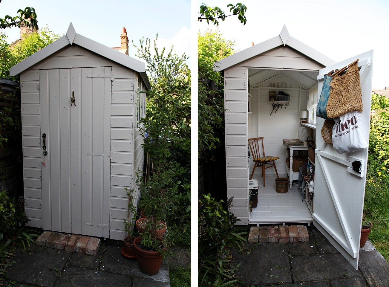 Husbondo Helped Me To Paint My Shed Its A Kind Of Putty Colour But White On The Inside As Before
