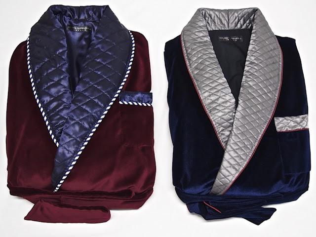 Men's quilted silk velvet smoking jacket robe
