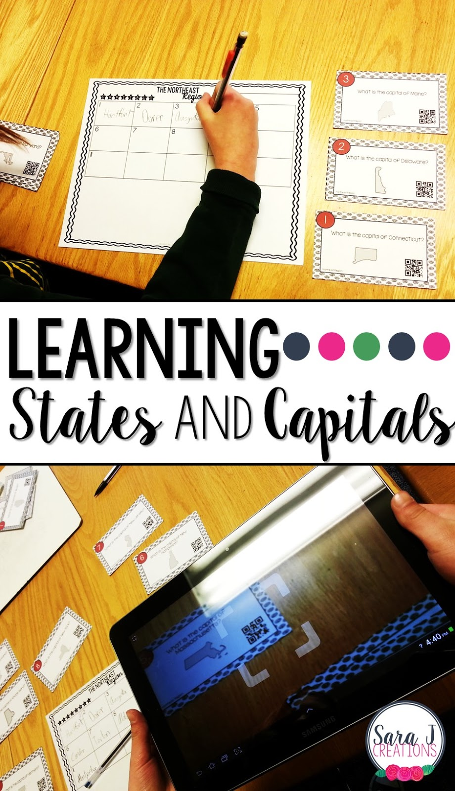 Learning the states and capitals by region can be so much fun by using task cards with QR codes!