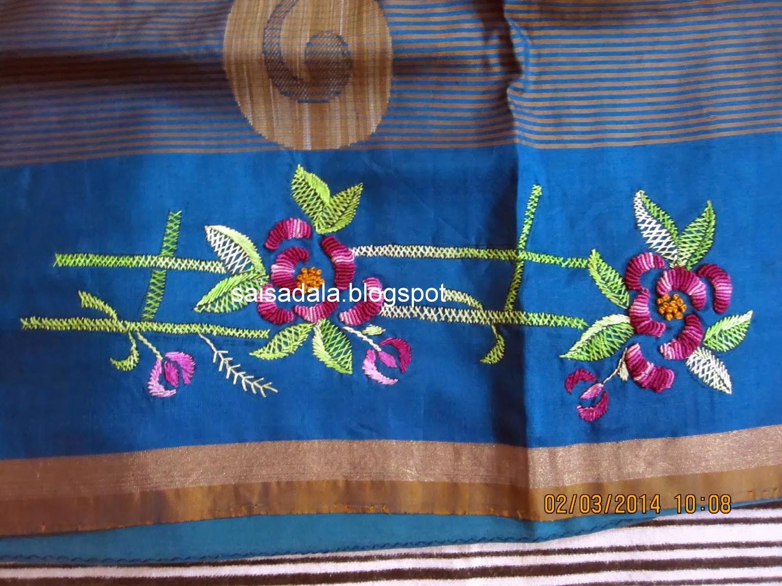 Sadala's embroidery: long & short stitch: kurthi.