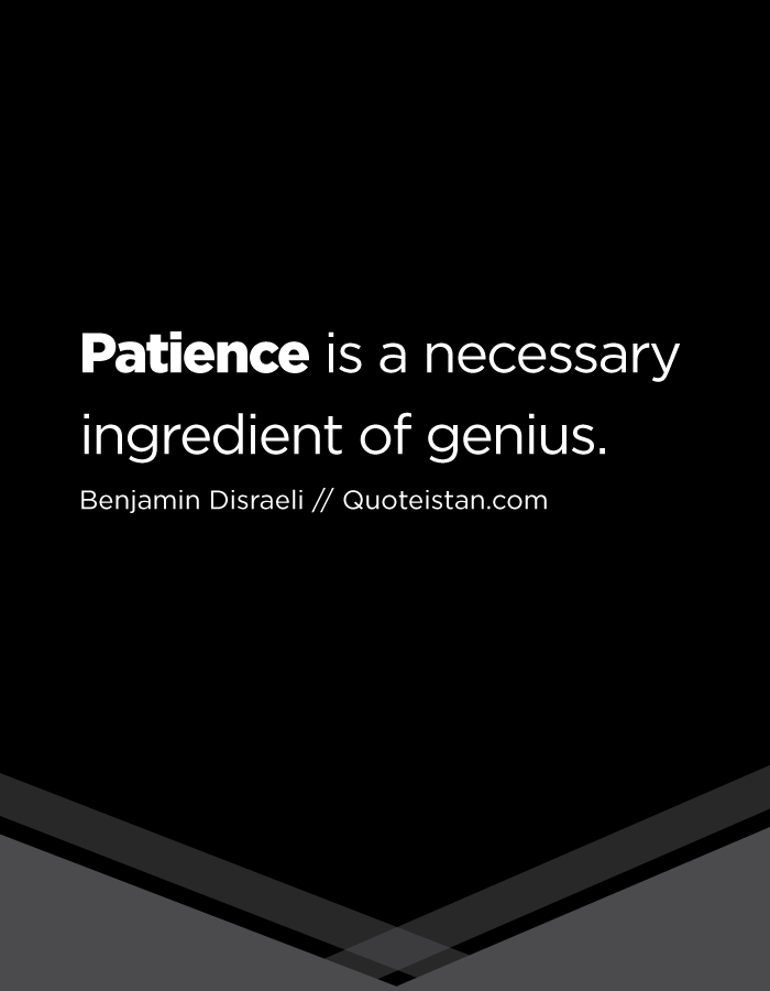Patience is a necessary ingredient of genius.