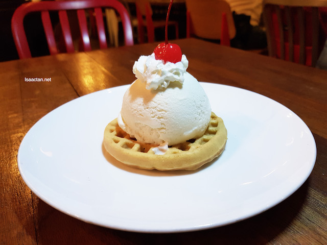 Complimentary ice cream on waffles