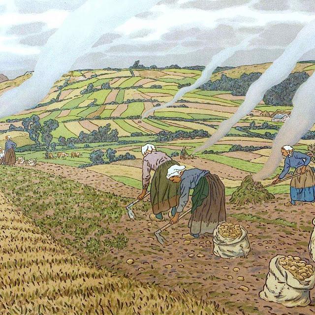 a Henri Rivière color farming scene