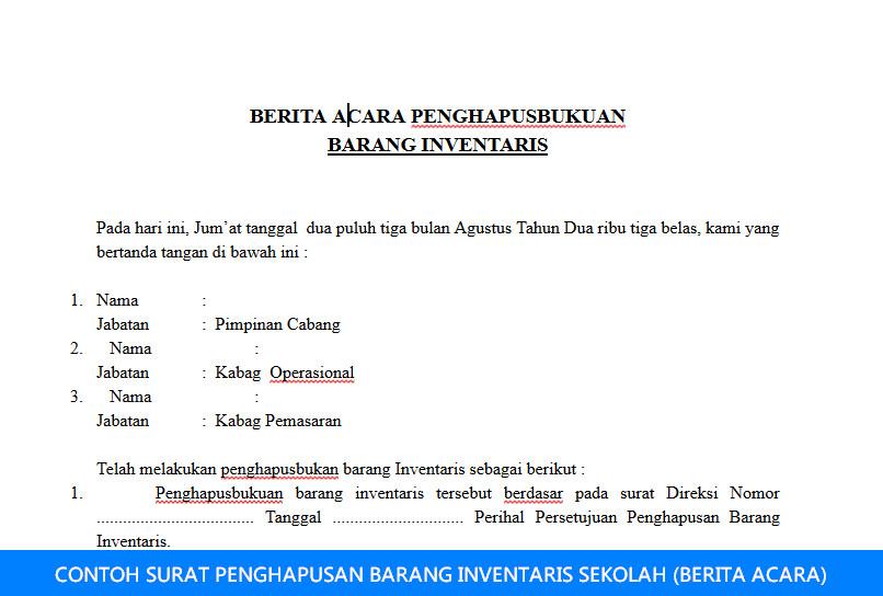 CONTOH SURAT PENGHAPUSAN BARANG INVENTARIS SEKOLAH (BERITA ACARA)