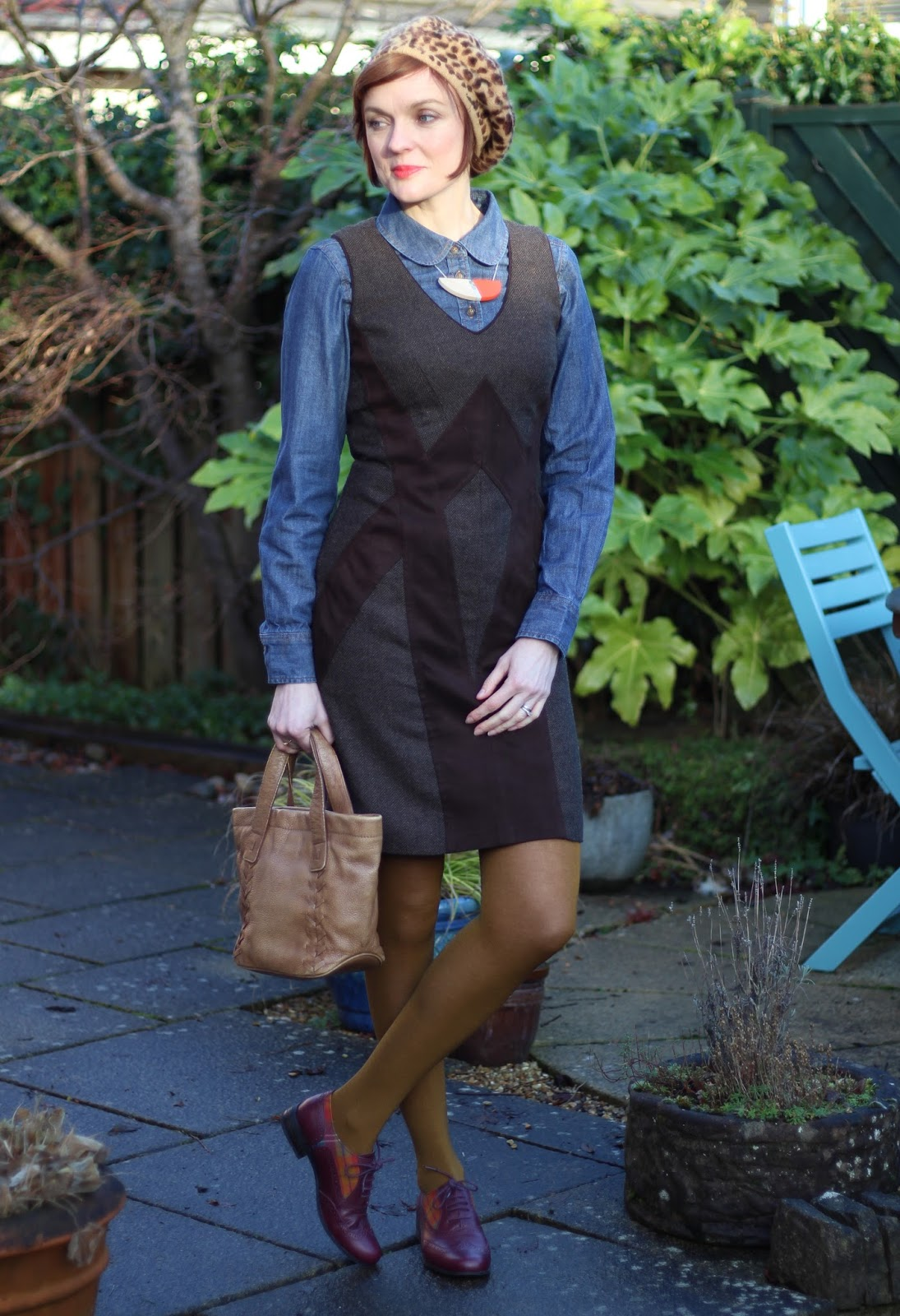 Denim Shirt, Tweed Shift Dress, Gold wool Tights & Brogues | Fake Fabulous