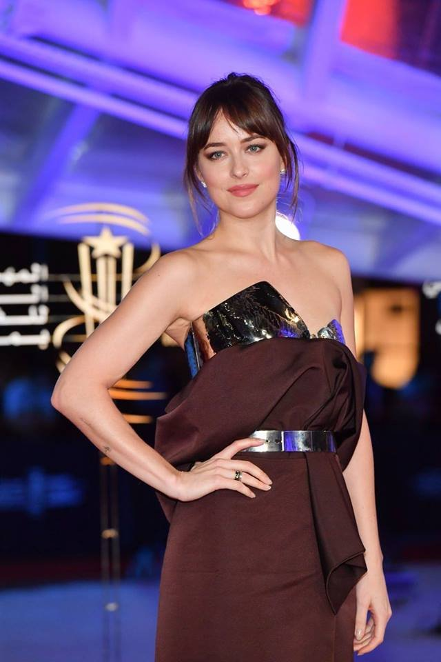 Dakota Johnson wears slinky strapless gown at the Marrakech International Film Festival