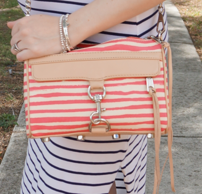 RM berry stripe coated canvas mini MAC bag worn