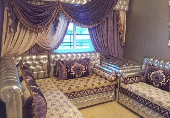 relaxing lucury style living room curtain designs with beaded hems and drapes