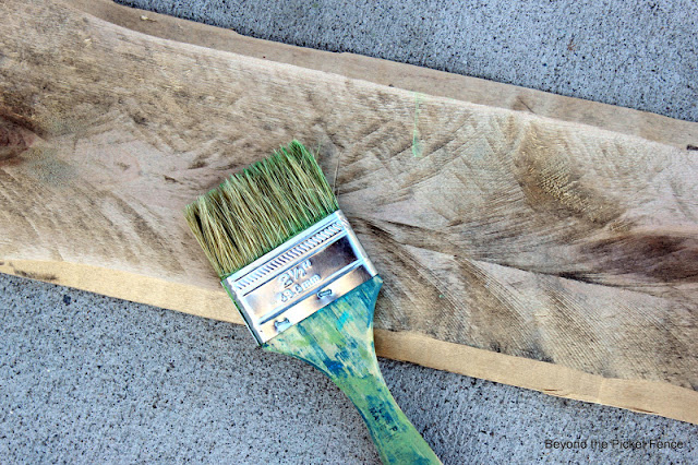 use a chip brush to create a weathered paint finish
