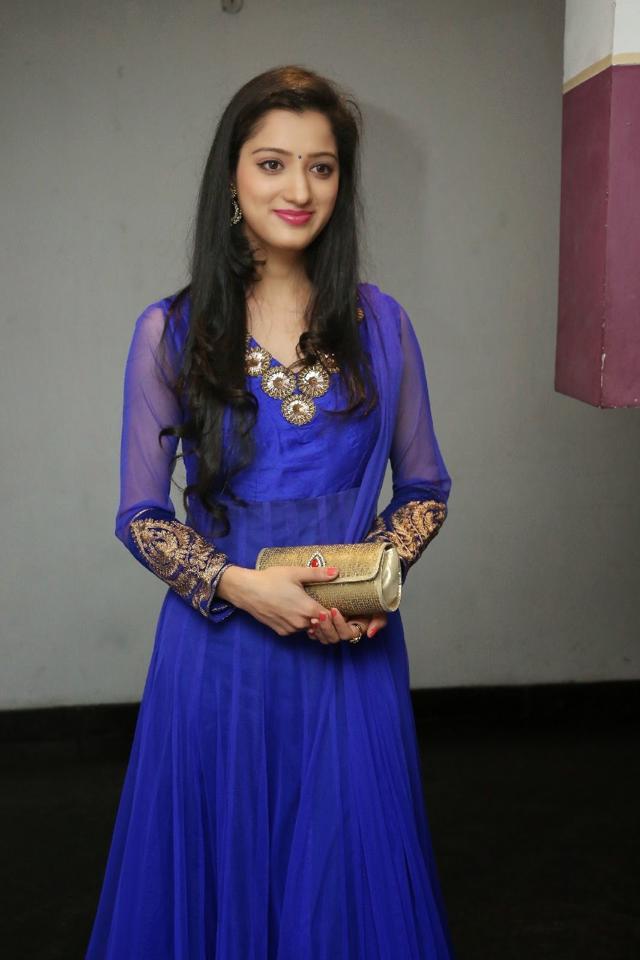 Telugu Actress Richa Panai Long Hair Stills In Blue Dress