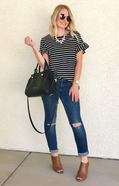 Thrifty Wife, Happy Life- Shein Reveiw- Stripe top with ruffle sleeves