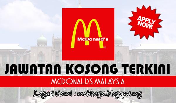 Jawatan Kosong Terkini 2017 di McDonald's