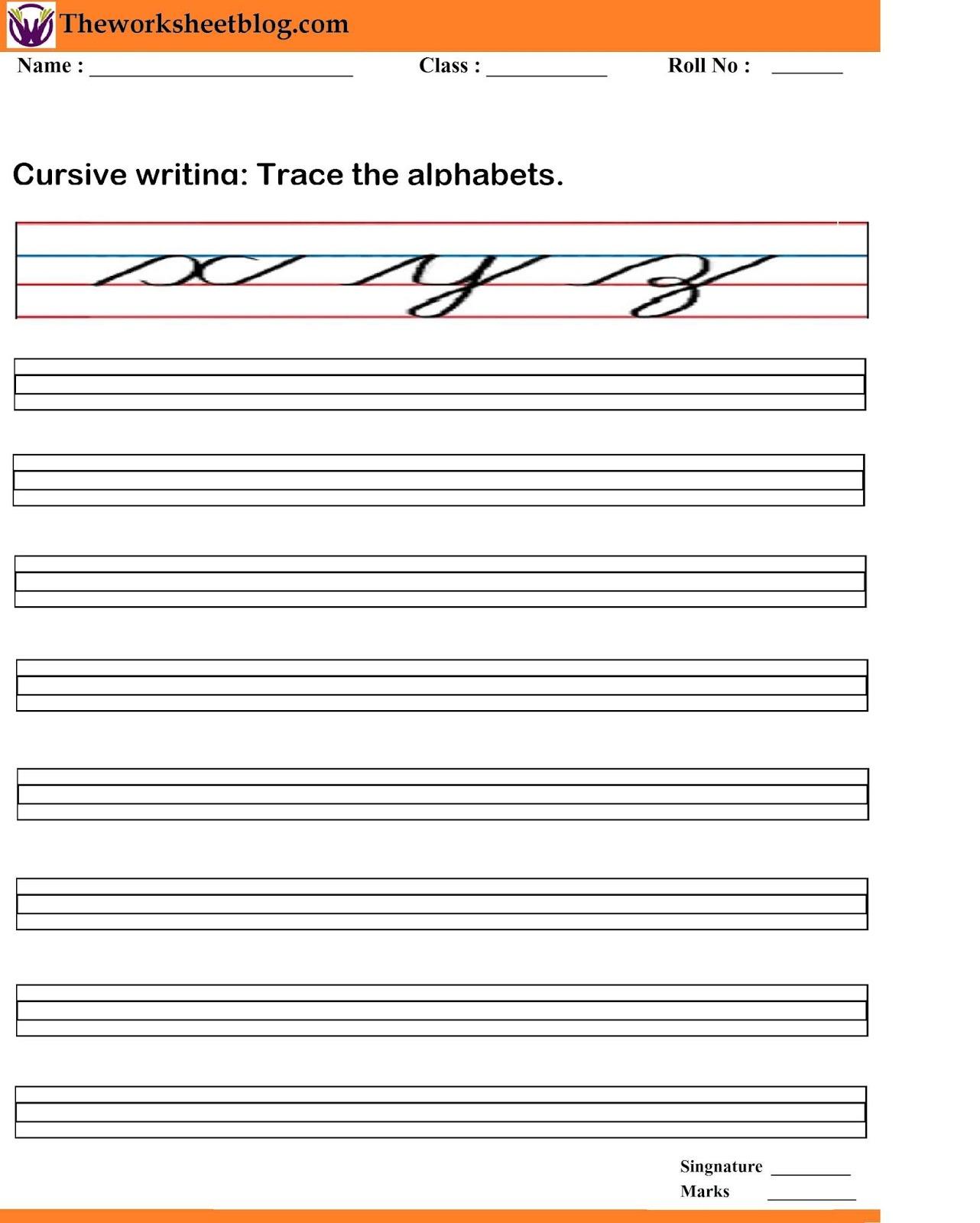 Cursive Writing Worksheets A Z