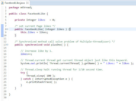 How to handle Facebook Likes in thread safe way in Java(Multithreading + synchronized) ~ IT Tips,Resource From Y.R.Ojha