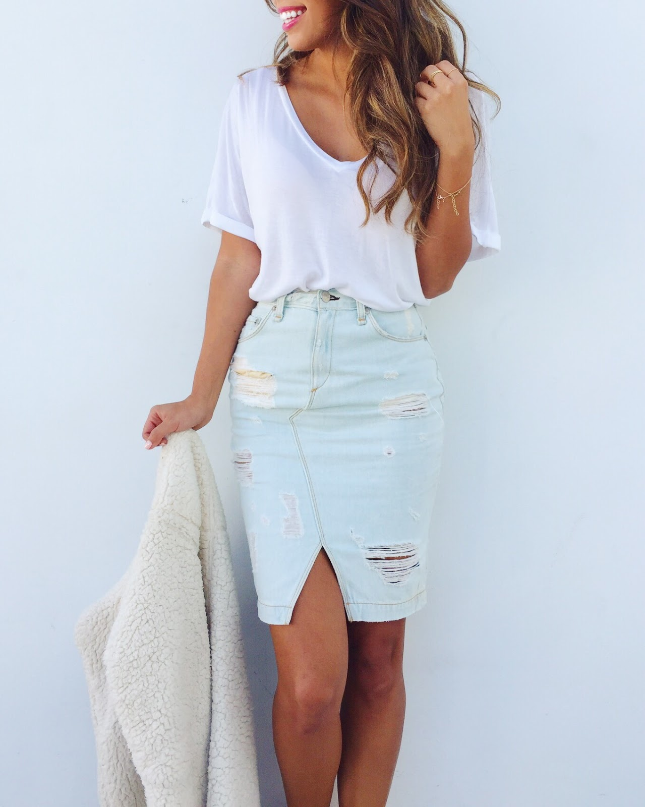 how to wear denim skirt, distressed skirt, rag and bone, casual outfit, pursuit of shoes
