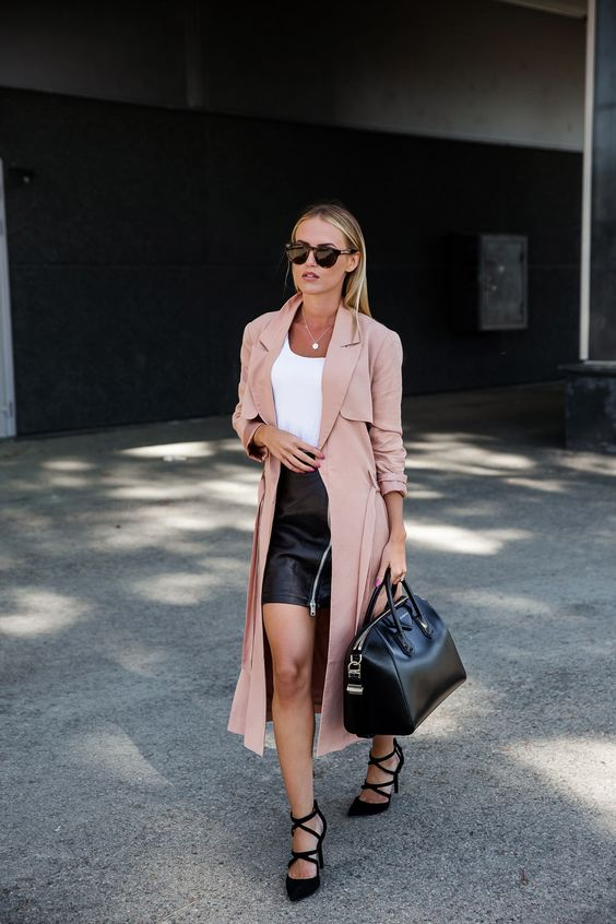 Kristin Sundberg - Blush Pink Duster Coat + Leather Skirt + Givenchy Antigona Bag